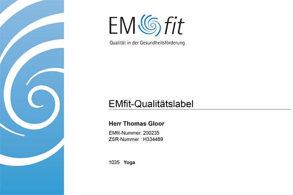 EMfit Qualitätslabel Thomas Gloor Anerkennung Helsana Gruppe
